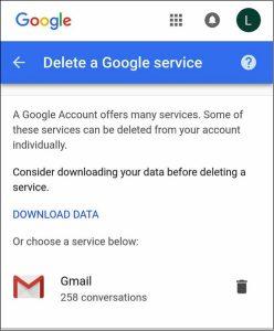 Delete a Google service
