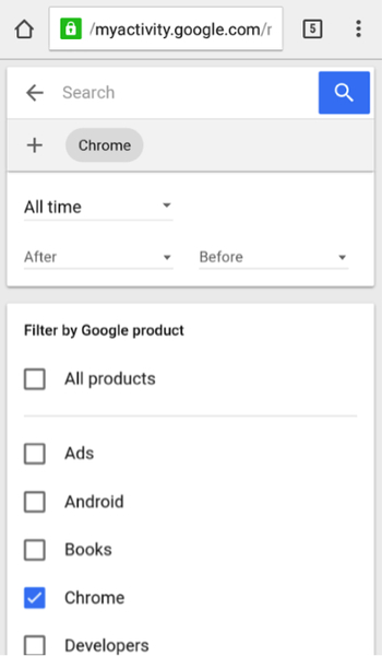 On the list, check Chrome, then tap the Search icon