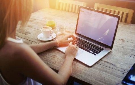 keyboarding on laptop computer