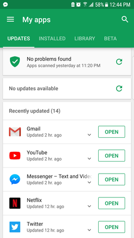 Play Store > My Apps & Games > Update All