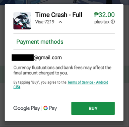 Google Play Payment methods
