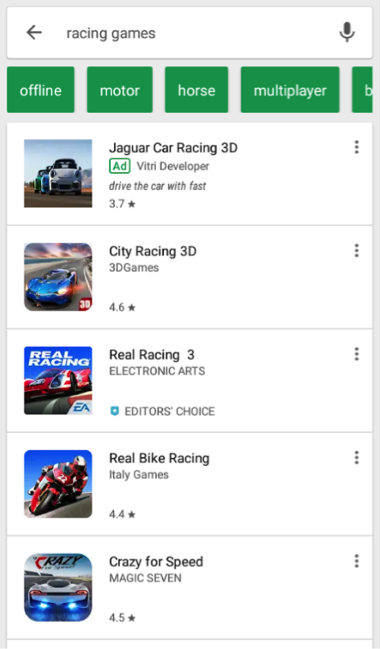 Searching Apps in Google Play Store