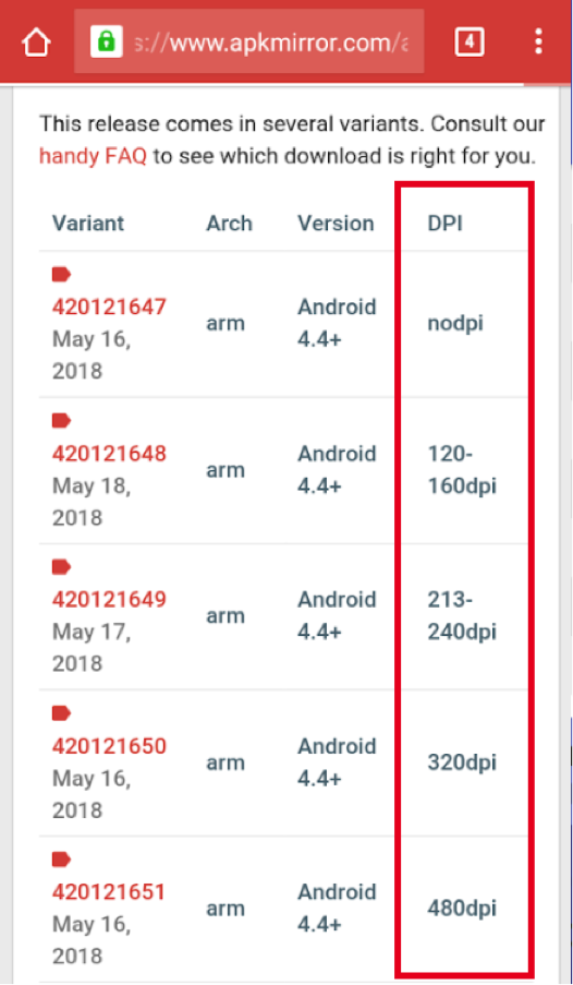 Using Your Device's Display Density for Downloading the Right APKs