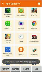 App Selection - Tasker