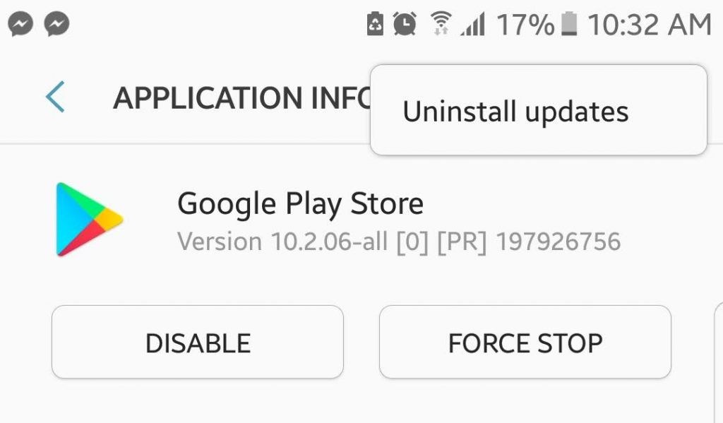 Uninstall Previous Google Play Store Updates.