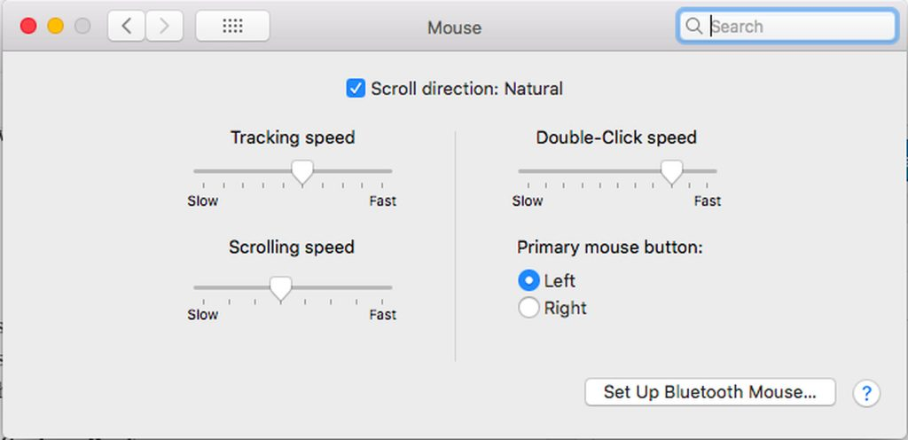 Mac Mouse Settings