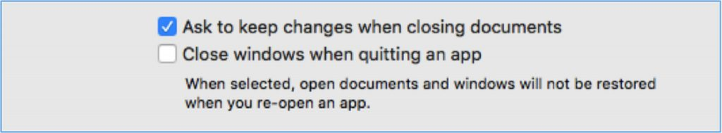 Uncheck Close windows when quitting an app