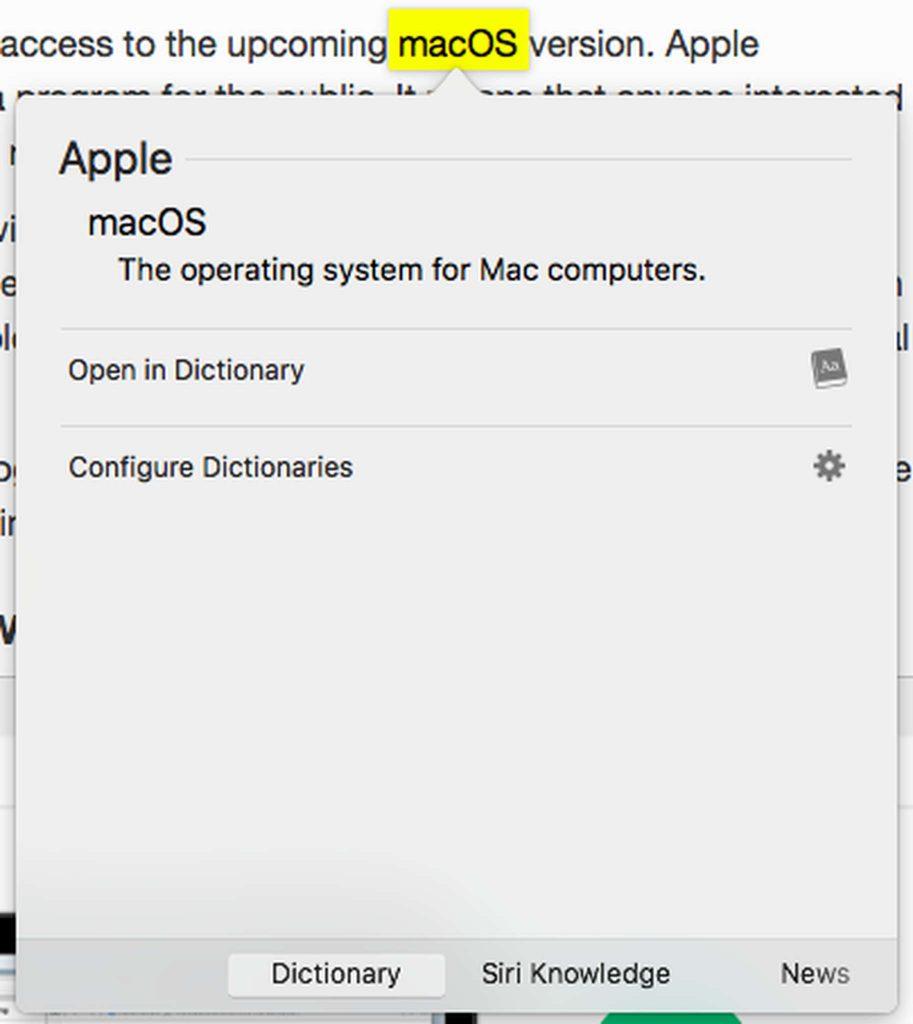 macOS Dictionary