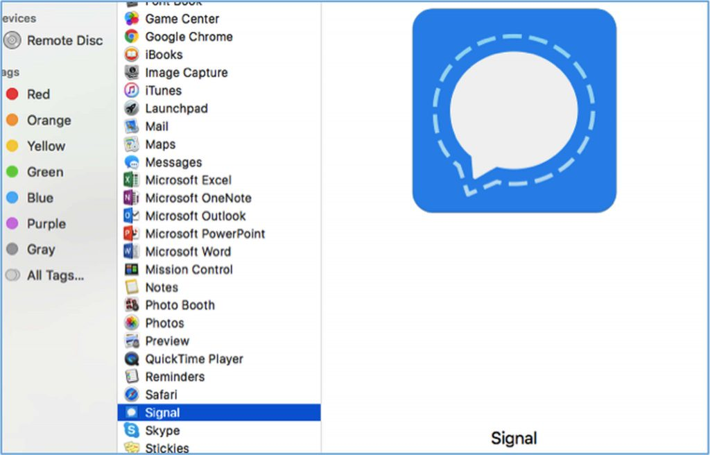 Signal.app on Applications folder
