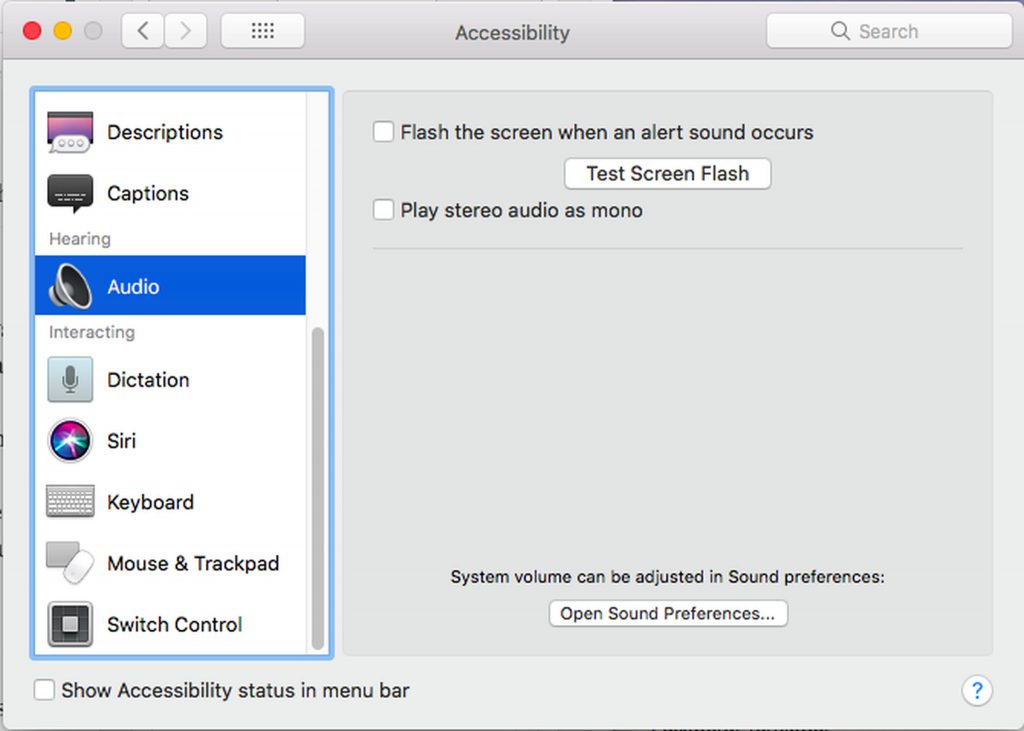 Mac's Accessibility Options > Audio
