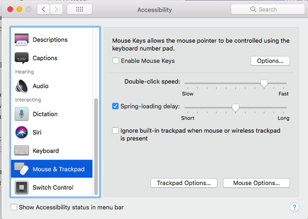 Mac's Accessibility Options > Mouse and Trackpad