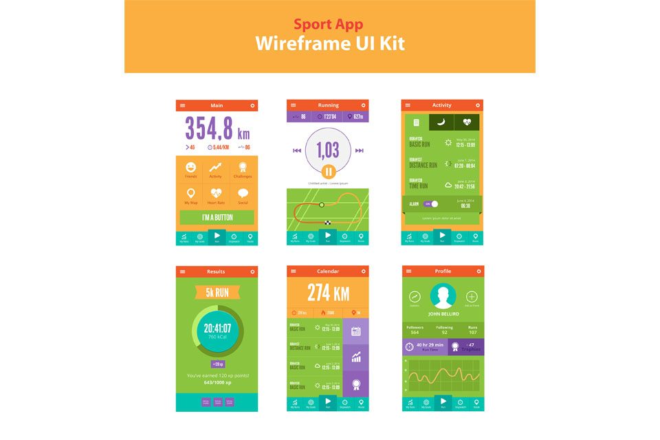 Sport App wireframe UI kit