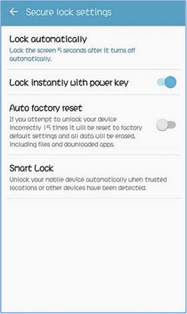 Secure Lock Settings