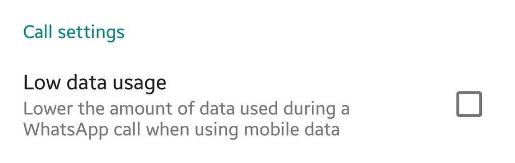 Low data usage