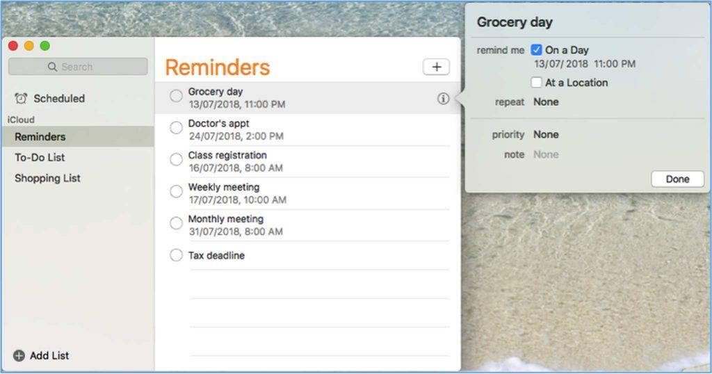 Other Tricks for Mac Reminder App