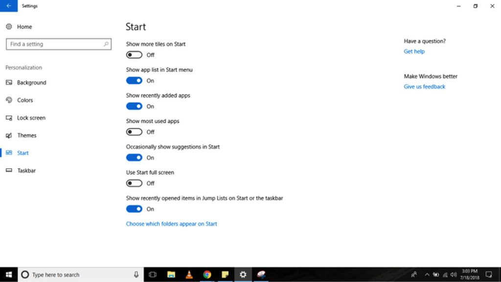How to Change the Basic Start Menu Settings