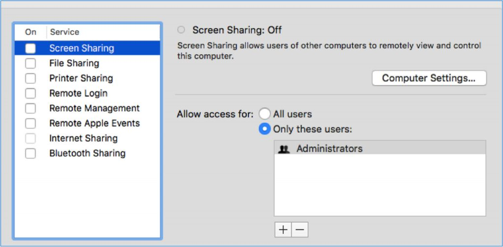 Mac Sharing Settings