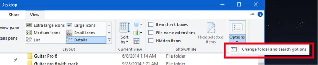 Windows Change folder and search options