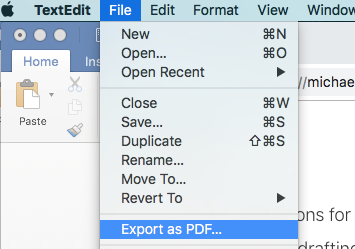 Mac Export as PDF