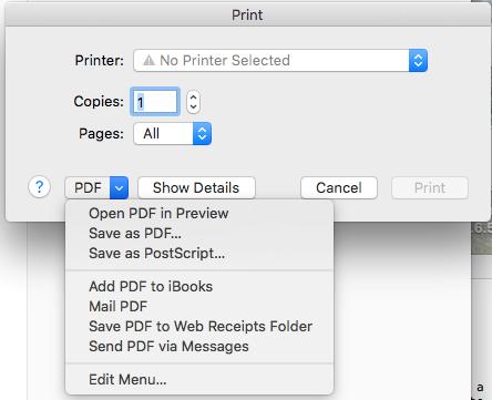 Mac PDF dialog