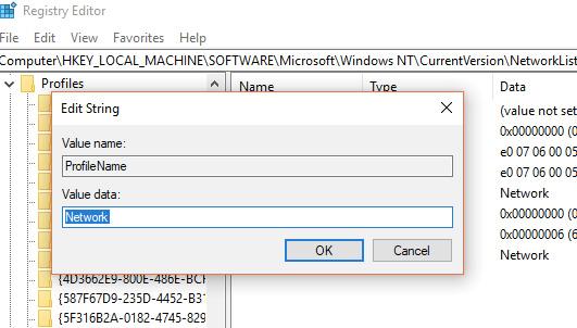 windows 10 network profile registry