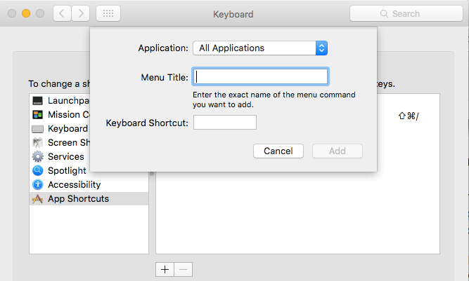 Create keyboard shortcuts