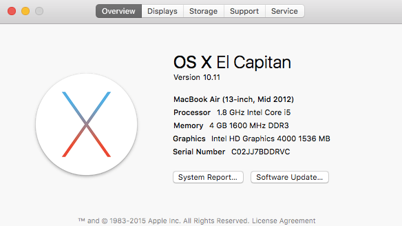 OS X El Capitan Version 10.11