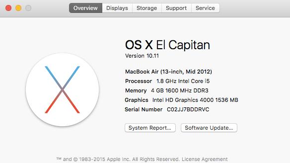 OS X El Capitan Version 10.11