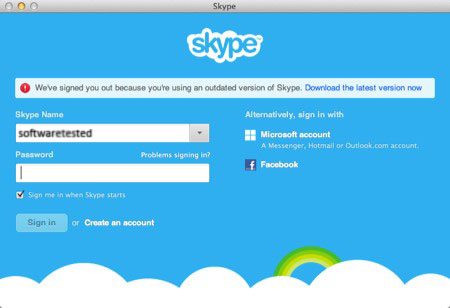 Skype Fails to Sign-in