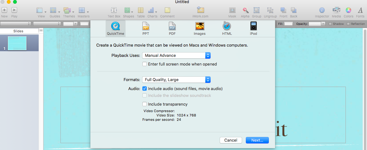 Keynote Video Export