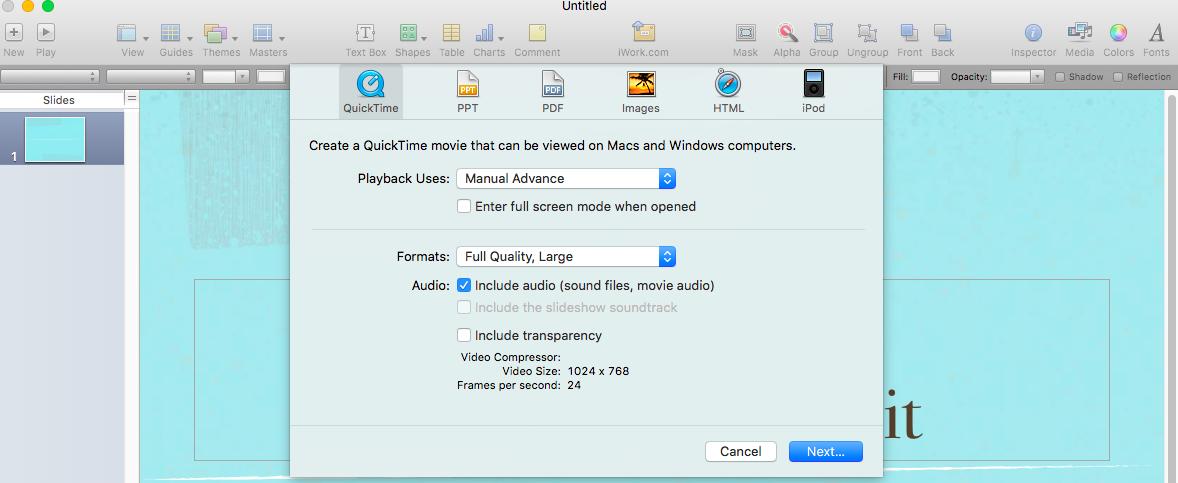 Keynote Video Export