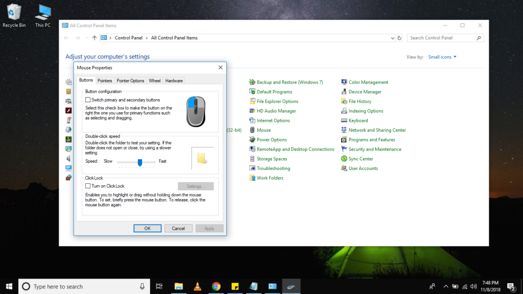 Windows Mouse Properties