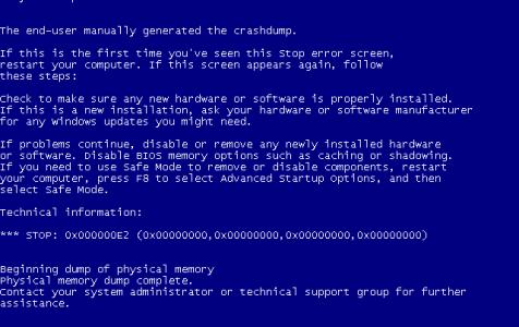 Windows XP Blue Screen of Death