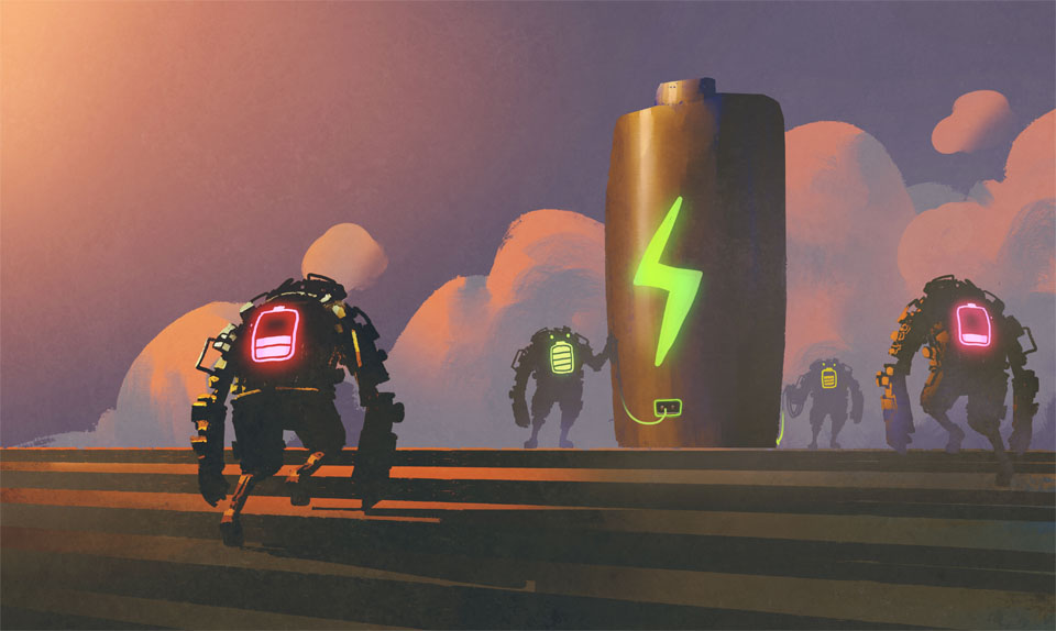 scene of robots with energy status