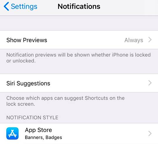 Notifications on iPhone