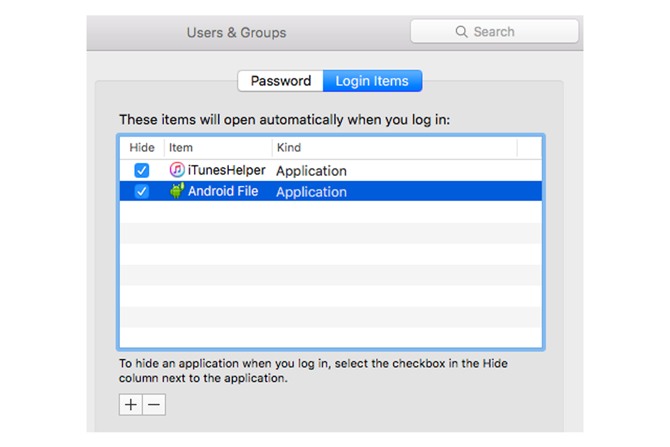 Users & Groups - System Preferences