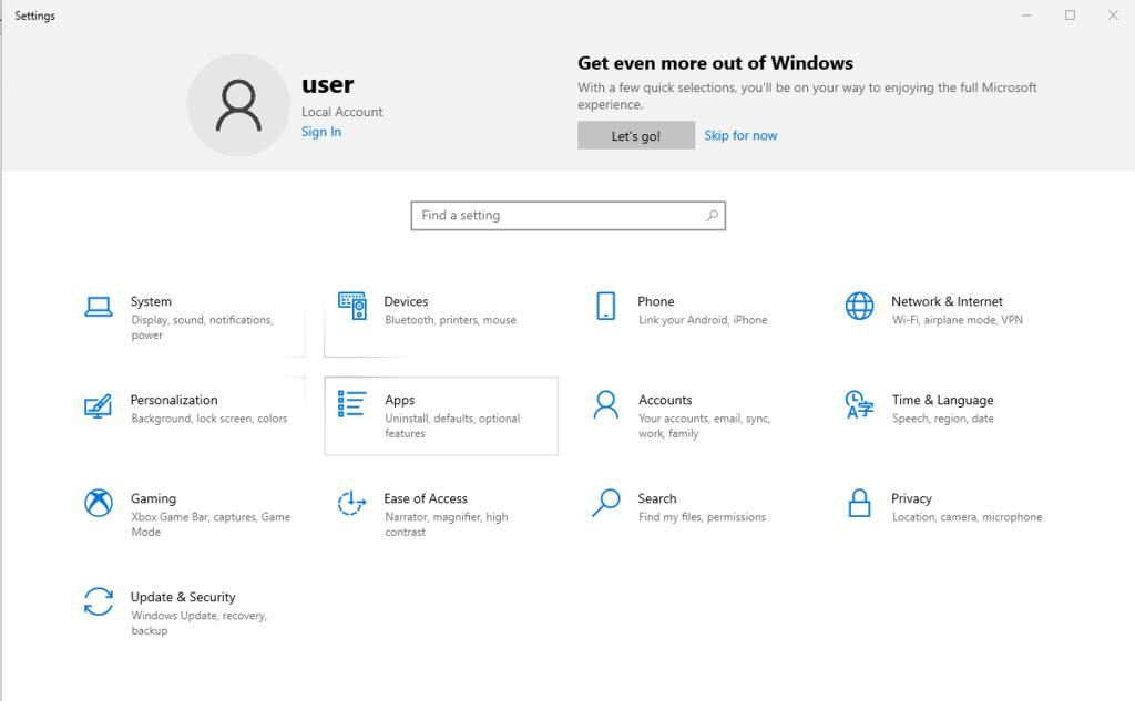 Windows Apps Settings