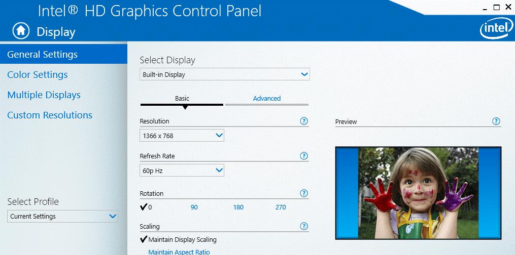 Nvidia HD Graphics Control Panel