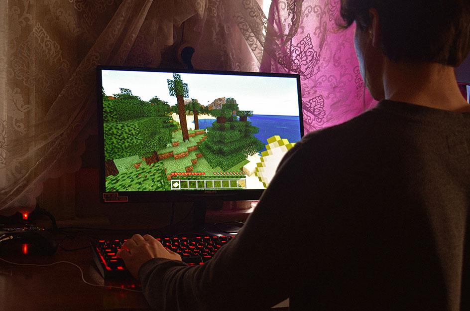 Playing Minecraft
