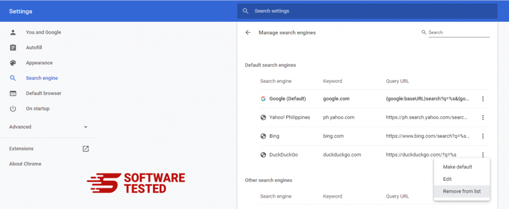 Google Chrome Manage search engines