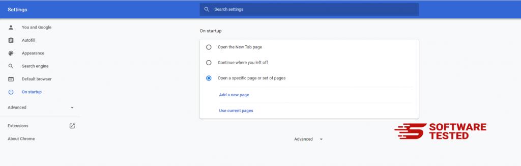 Google Chrome Startup Settings
