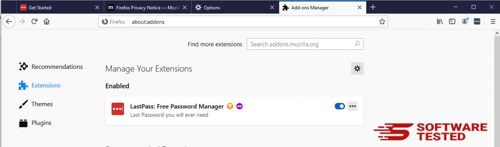 Firefox Extensions window