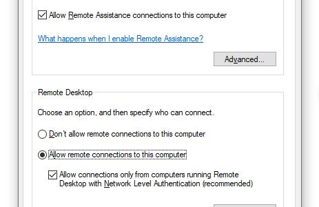 System Properties - Remote Desktop