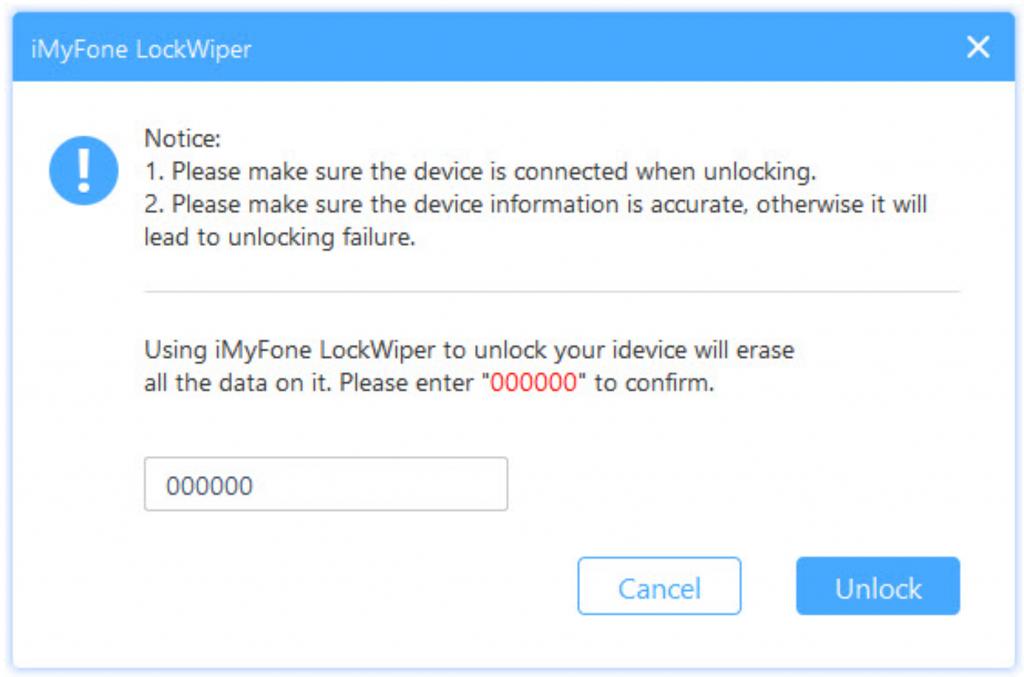 iMyFone LockWiper Start Unlock