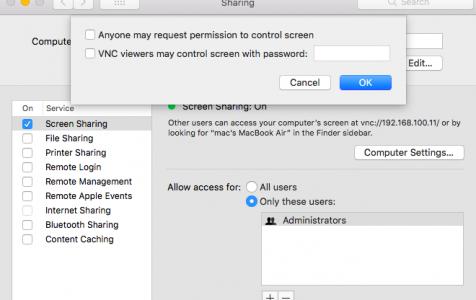 Mac Screen Sharing Management