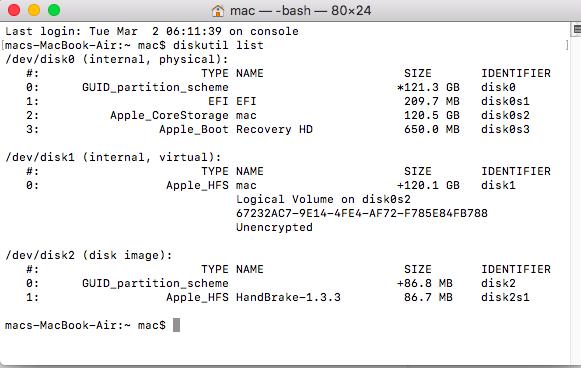 Mac Terminal - diskutil