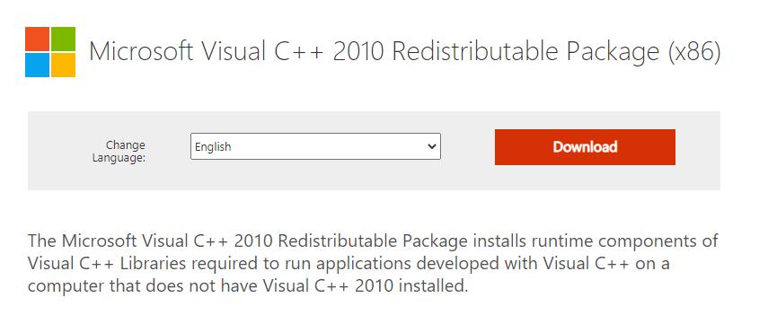 Microsoft Visual C 2010 Redistributable Package