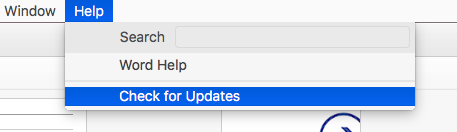 Microsoft Word Check for Updates