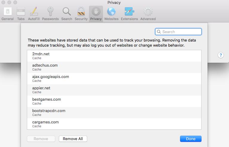 Safari Browser Clear Data