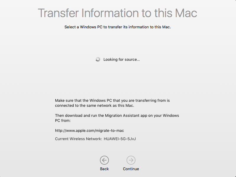Transfer Information to this Mac